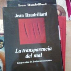 Libros de segunda mano: LA TRANSPARENCIA DEL MAL, JEAN BAUDRILLARD, ED. ANAGRAMA. Lote 219374921