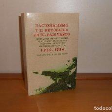Libros de segunda mano: NACIONALISMO Y II REPÚBLICA EN EL PAÍS VASCO . JOSÉ LUIS DE LA GRANJA SAINZ - SIGLO XXI. Lote 220354098