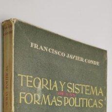 Libros de segunda mano: TEORIA Y SISTEMA DE LAS FORMAS POLITICAS ·· FRANCISCO JAVIER CONDE ·· 1948 ··ESTUDI. Lote 221706382