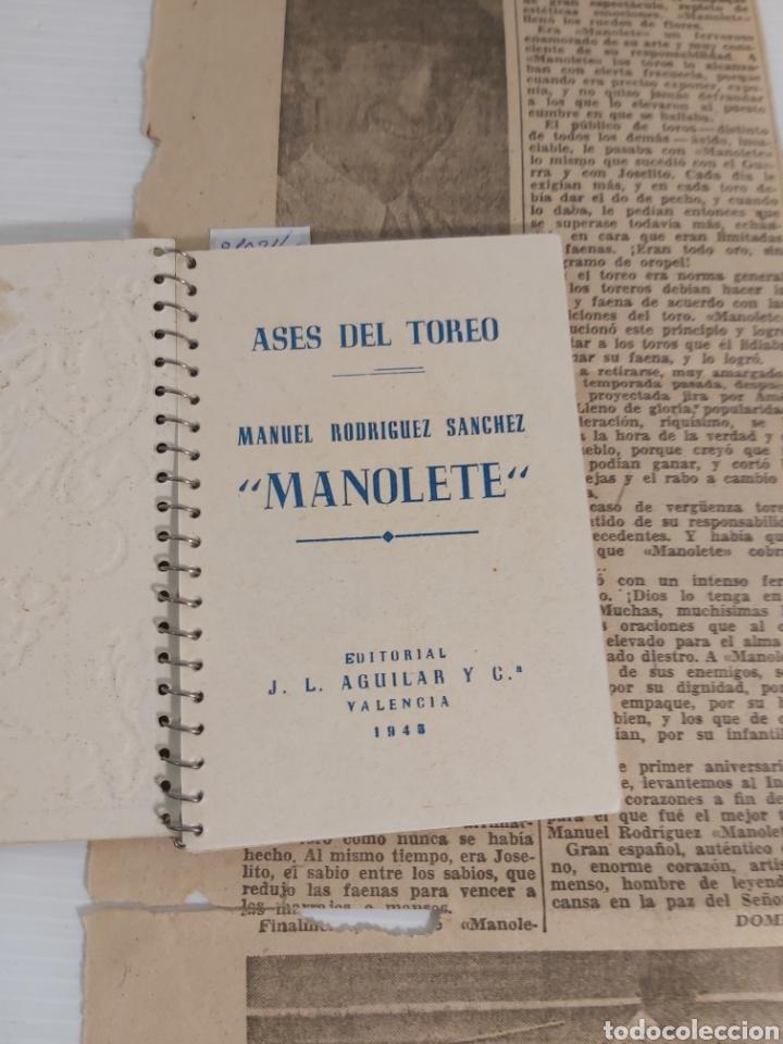 Libros de segunda mano: ASES DEL TOREO. MANOLETE Y RECORTE PERIODICO 1948 - Foto 2 - 221762676