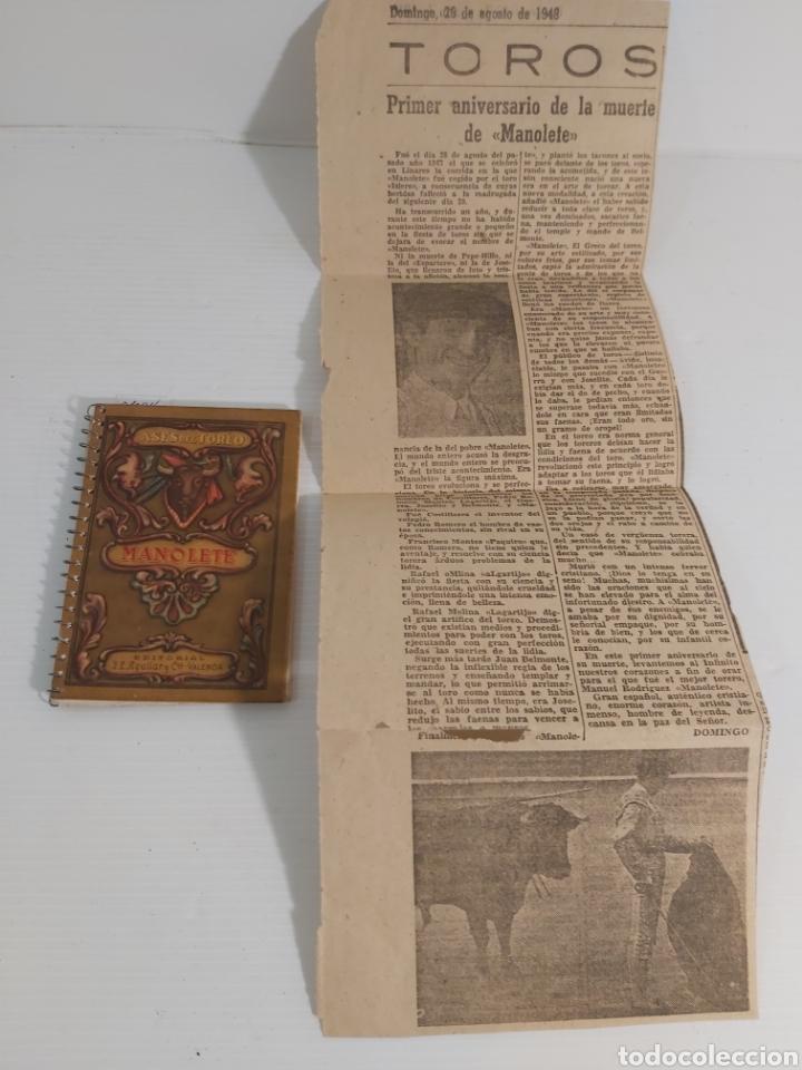 ASES DEL TOREO. MANOLETE Y RECORTE PERIODICO 1948 (Libros de Segunda Mano - Ciencias, Manuales y Oficios - Otros)