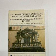 Libros de segunda mano: UN COMERCIANTE SABOYANO EN EL CADIZ DE CARLOS II. CADIZ, 1983. MANUEL BUSTOS RODRIGUEZ. PAGS: 376. Lote 221884200