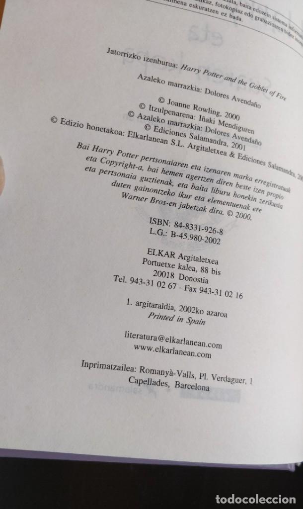 Libros de segunda mano: *PRIMERA EDICION* HARRY POTTER ETA SUAREN KOPA CALIZ FUEGO ELKAR SALAMANDRA 2002 - Foto 5 - 221896312