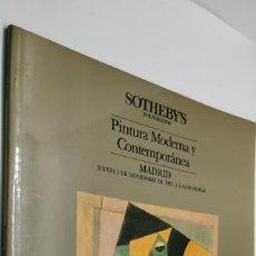 Libros de segunda mano: PINTURA MODERNA Y CONTEMPORÁNEA. CATÁLOGO DE LA SUBASTA DE SOTHEBY`S EN MADRID AÑO 1987. Lote 221917562