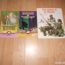 Libros de segunda mano: 3 LIBROS JUVENILES, EL FANTASMA DE LA GUARDA - LAS AVENTURAS DE LA MANO NEGRA - DON QUIJOTE. Lote 221949371