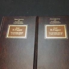 Libros de segunda mano: LA SOCIEDAD ABIERTA Y SUS ENEMIGOS, 1 Y 2 (COMPLETA) - POPPER, KARL. Lote 222727725