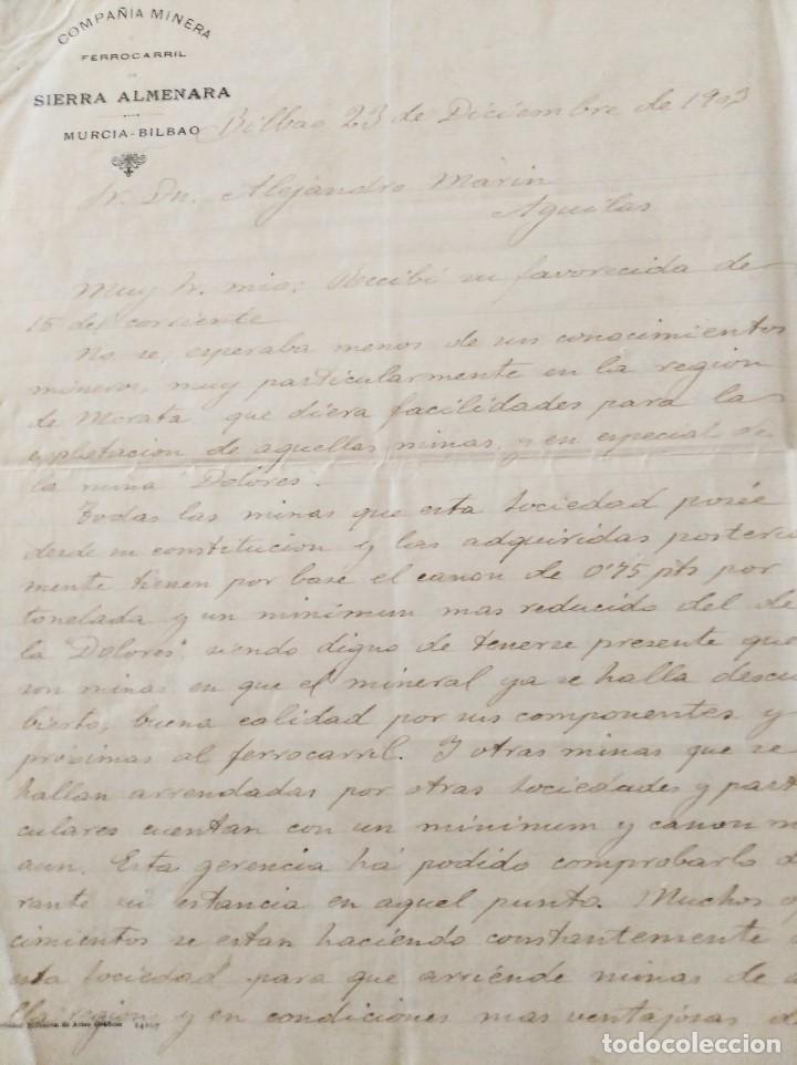 MINERIA MURCIA. COMPAÑIA MINERA Y FERROCARRIL DE SIERRA ALMENARA. MINAS MORATA. ALEJ. MARIN. 1903 (Libros de Segunda Mano - Historia - Otros)