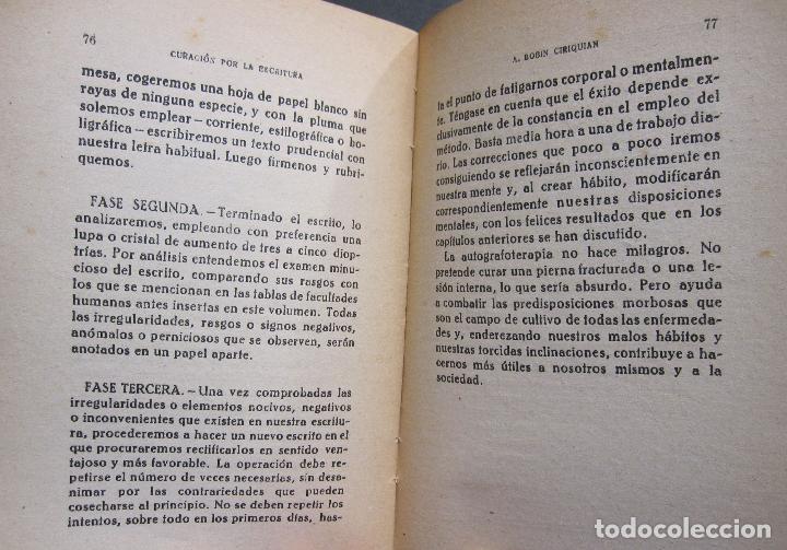 Libros de segunda mano: A. BOBIN CIRIQUIAN. CURACIÓN POR LA ESCRITURA (AUTOGRAFOTERAPIA). BARCELONA, 1949 - Foto 10 - 225086891