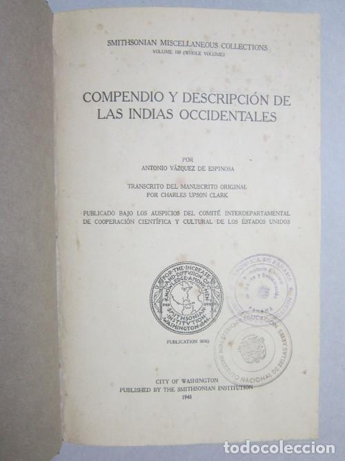 ANTONIO VÁZQUEZ DE ESPINOSA, CHARLES UPSON CLARK. COMPENDIO Y DESCRIPCIÓN DE LAS INDIAS OCCIDENTALES (Libros de Segunda Mano - Historia - Otros)