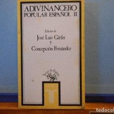 Livres d'occasion: ADIVINANCERO POPULAR ESPAÑOL II. JOSÉ LUIS GARFER. TAURUS EDICIONES, S.A.. Lote 226215666