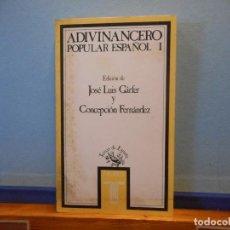 Livres d'occasion: ADIVINANCERO POPULAR ESPAÑOL I. JOSÉ LUIS GARFER. TAURUS EDICIONES, S.A.. Lote 226215780