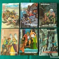 Libros de segunda mano: SALGARI - LOTE 6 LIBROS - NÚMEROS 11, 18, 22, 24, 27 Y 29 EDITORIAL GAHE AÑOS 70,72 Y 75,. Lote 227210645