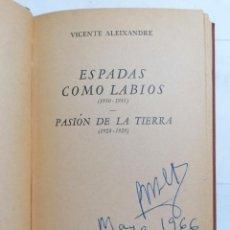Libros de segunda mano: ESPADAS COMO LABIOS Y PASION DE LA TIERRA POR VICENTE ALEIXANDRE, AÑO 1957, EDITORIAL LOSADA. Lote 228044290