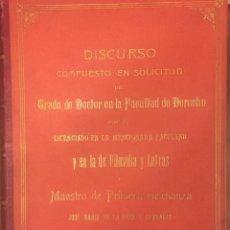 Libros de segunda mano: JOSE MARIA DE LA PEÑA Y CHAVARRI DISCURSO. MAESTRO DE 1ª ENSEÑANZA PRINCIPIO SIGLO XX. Lote 228407820