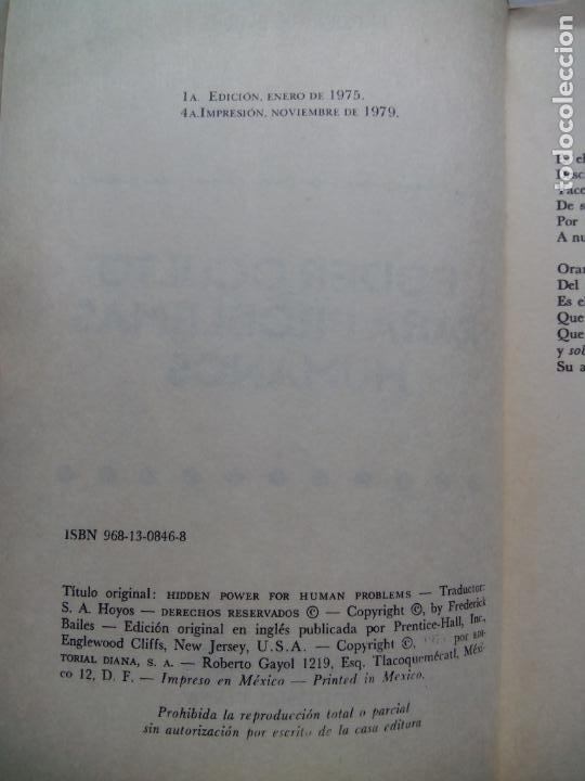 Libros de segunda mano: PODER OCULTO PARA PROBLEMAS HUMANOS. FREDERICK BAILES. EDITORIAL DIANA. MÉXICO 1979. - Foto 2 - 232024490