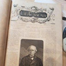 Libros de segunda mano: REVISTA ACADEMIA AÑO 1877 - TOMO 2 NÚMERO DEL 1 AL 23 . 384 PÁGINAS. Lote 232529965