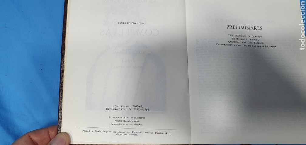 Libros de segunda mano: OBRAS COMPLETAS DE FRANCISCO DE QUEVEDO - VERSO/PROSA 1964/66 - AGUILAR - Foto 11 - 271786158