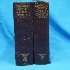 Libros de segunda mano: OBRAS COMPLETAS DE FRANCISCO DE QUEVEDO - VERSO/PROSA 1964/66 - AGUILAR. Lote 233097590