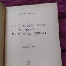 Libros de segunda mano: 1951. LA PERSONALIDAD NEURÓTICA DE NUESTRO TIEMPO. KAREN HORNEY.. Lote 233574710
