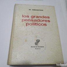 Libros de segunda mano: WILLIAM EBENSTEIN LOS GRANDES PENSADORES POLÍTICOS DE PLATÓN HASTA HOY W5073. Lote 234179085