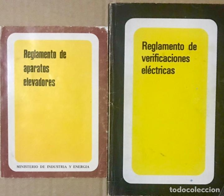 LOTE 2 LIBROS REGLAMENTO DE APARATOS ELEVADORES - VERIFICACIONES ELECTRICAS - MINISTERIO INDUSTRIA (Libros de Segunda Mano - Ciencias, Manuales y Oficios - Otros)