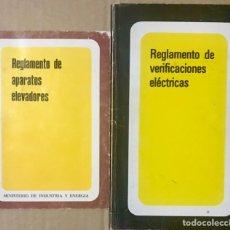 Libros de segunda mano: LOTE 2 LIBROS REGLAMENTO DE APARATOS ELEVADORES - VERIFICACIONES ELECTRICAS - MINISTERIO INDUSTRIA. Lote 234517555