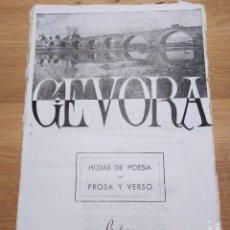 Libros de segunda mano: GEVORA.HOJAS DE POESIA EN PROSA Y VERSO .BADAJOZ 30-7--53. Lote 235125990