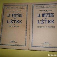 Libros de segunda mano: LE MYSTERE DE L'ETRE, I Y II, GABRIEL MARCEL, ED. AUBIER, EN FRANCÉS. Lote 236223490