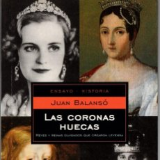 Libros de segunda mano: LAS CORONAS HUECAS. JUAN BALANSÓ. RANDOM HOUSE-MONDADORI 2004. 217 PÁGS, ILUSTRADO. TAPA BLANDA.. Lote 238425625
