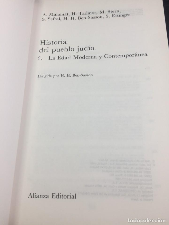 Libros de segunda mano: Historia del pueblo judio 3 Edad Moderna y Contemp. Alianza Editorial. Dirigida por Ben-Sasson. 1988 - Foto 3 - 240014825