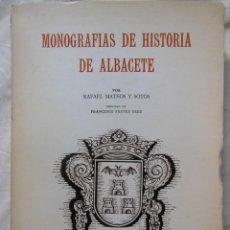 Libros de segunda mano: MONOGRAFIAS DE HISTORIA DE ALBACETE. 1977 RAFAEL MATEOS Y SOTOS. Lote 243199710