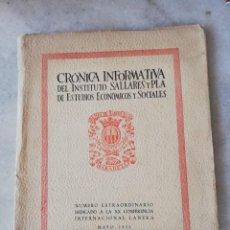 Libros de segunda mano: CRÓNICA INFORMATIVA INSTITUTO SALLARÉS Y PLA ESTUDIOS ECONÓMICOS Y SOCIALES. SABADELL 1951. Lote 245155555