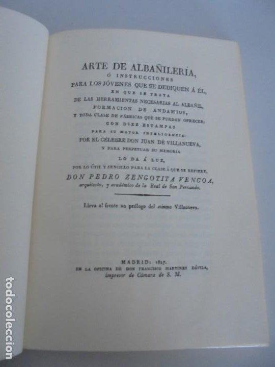 Libros de segunda mano: ARTE DE ALBAÑILERIA. JUAN DE VILLANUEVA. ASLAND. EDICIONES VELAZQUEZ. FACSIMIL. 1977 - Foto 8 - 245218500