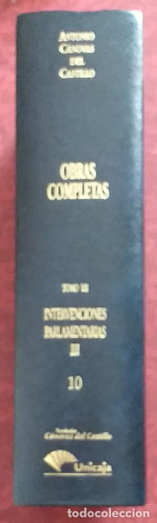 Libros de segunda mano: Obras completas Cánovas del Castillo. Tomo VII. Volumen 10. Intervenciones parlamentarias III. 1997. - Foto 2 - 246355345