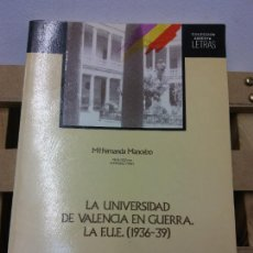 Libros de segunda mano: LA UNIVERSIDAD DE VALENCIA EN GUERRA. LA F.U.E. 1936-39. MA FERNANDA MANCEBO. AJUNTAMENT DE VALÈNCIA. Lote 251049800