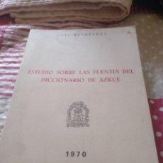 Libros de segunda mano: LUIS MICHELENA. DICCIONARIO DE AZKUE. 1970. Lote 252274060