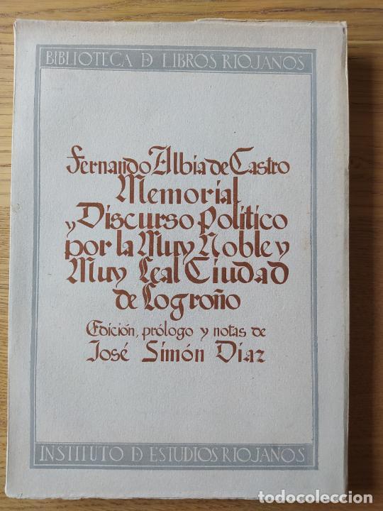 Libros de segunda mano: Memorial histórico por la ciudad de Logroño Albia de Castro, Fernando. Inst. Est. Riojanos, 1953 - Foto 2 - 278854383