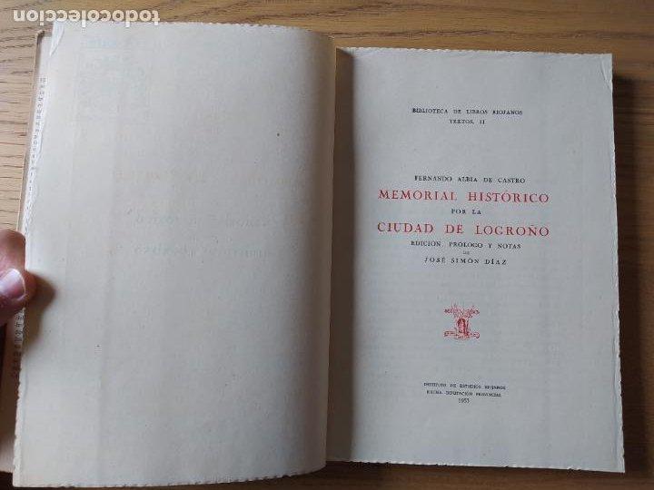 Libros de segunda mano: Memorial histórico por la ciudad de Logroño Albia de Castro, Fernando. Inst. Est. Riojanos, 1953 - Foto 6 - 278854383