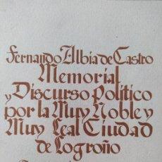 Libros de segunda mano: MEMORIAL HISTÓRICO POR LA CIUDAD DE LOGROÑO ALBIA DE CASTRO, FERNANDO. INST. EST. RIOJANOS, 1953. Lote 278854383