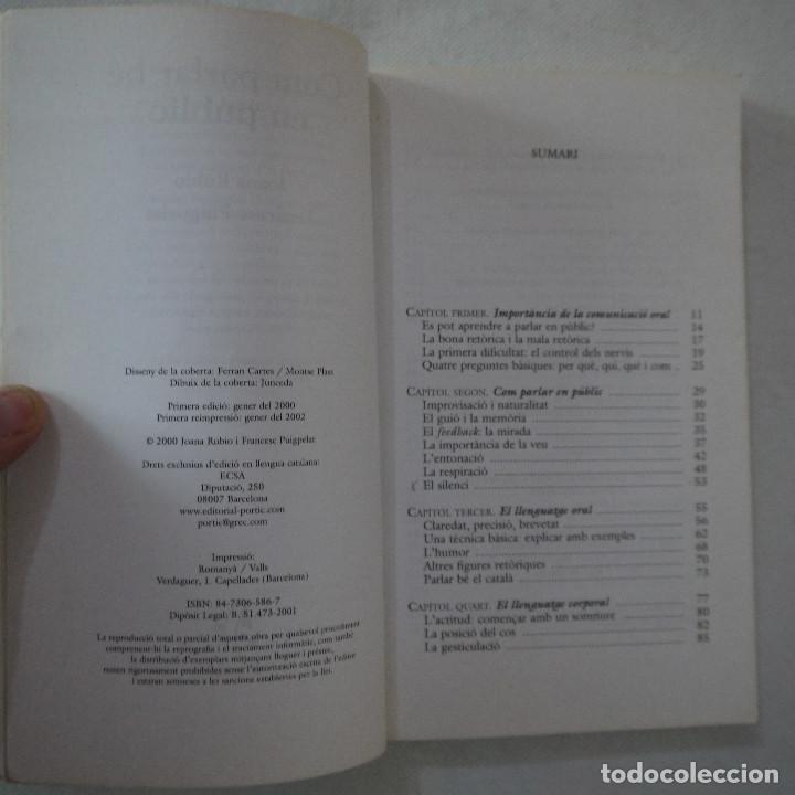 Libros de segunda mano: COM PARLAR BÉ EN PÚBLIC - JOANA RUBIO I FRANCESC PUIGPELAT - PÓRTIC - 2002 - EN CATALAN - Foto 3 - 254952100
