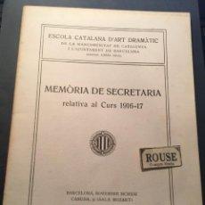 Libros de segunda mano: TEATRO - ESCOLA CATALANA D'ART DRAMÀTIC DE LA MANCOMUNITAT DE CATALUNYA I L'AJUNTAMENT DE BARCELONA. Lote 254967045