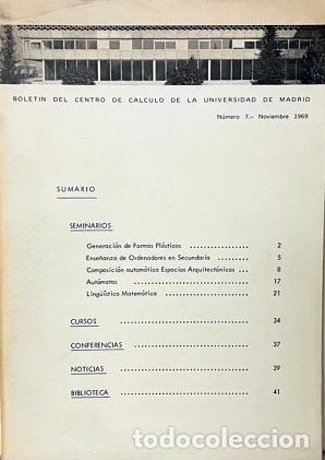BOLETÍN DEL CENTRO DE CÁLCULO. UNIV DE MADRID (Nº 7. 1969) (IGNACIO GÓMEZ DE LIAÑO, SEGUÍ DE LA RIVA (Libros de Segunda Mano - Bellas artes, ocio y coleccionismo - Otros)