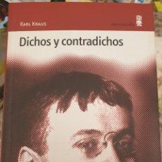 Libros de segunda mano: DICHOS Y CONTRADICHOS. KARL KRAUS. Lote 257632925