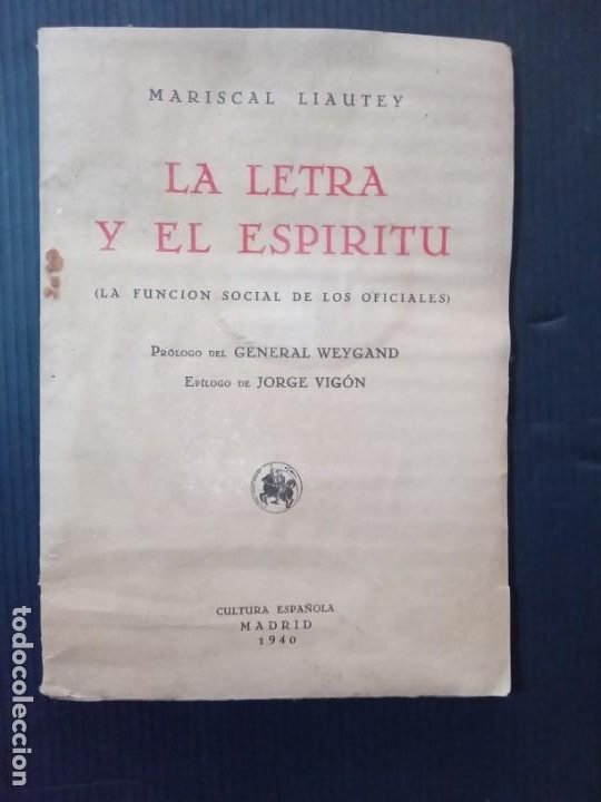Libros de segunda mano: La letra y el Espíritu.Mariscal Liautey.1940. - Foto 2 - 261153225
