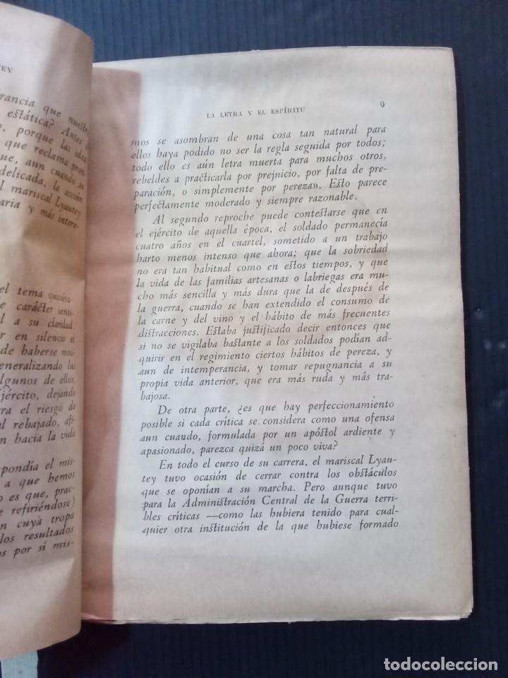 Libros de segunda mano: La letra y el Espíritu.Mariscal Liautey.1940. - Foto 3 - 261153225