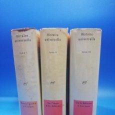 Libros de segunda mano: HISTOIRE UNIVERSELLE. R. GROUSSEL. ENCYCLOPEDIE DE LA PLEIADE. 3 TOMOS. 1956. PAGS. 1862/2066/2036... Lote 261169920