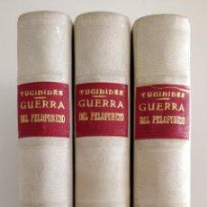 Libros de segunda mano: HISTORIA DE LA GUERRA DEL PELOPONESO, TUCÍDIDES, 3 TOMOS, 1955, PRECIOSA ENCUADERNACIÓN. Lote 262544575