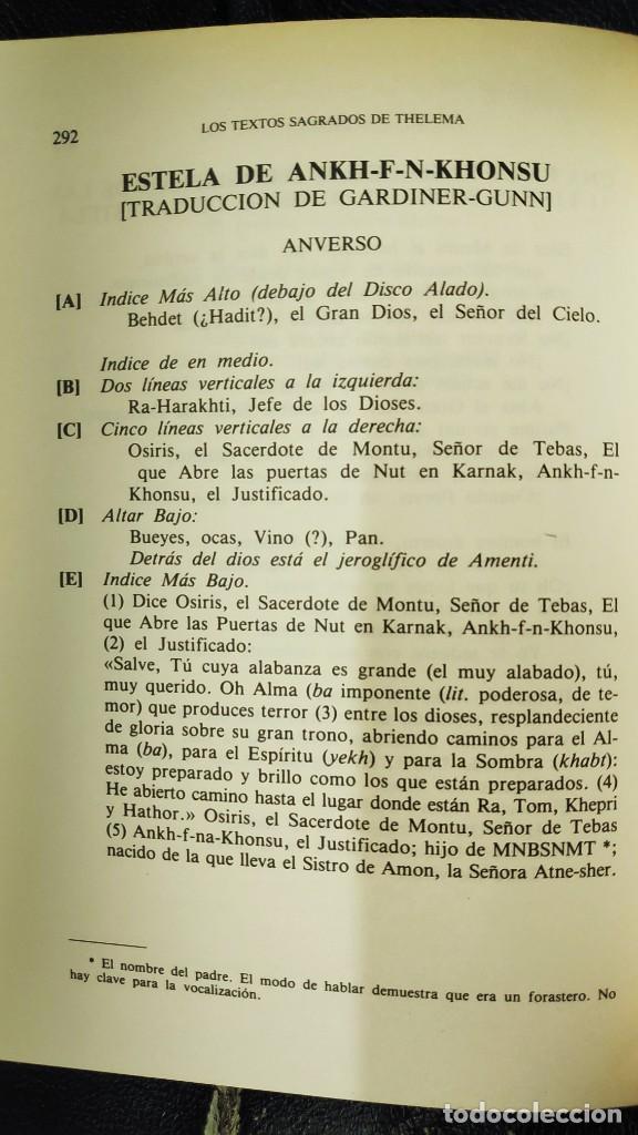 Libros de segunda mano: LOS TEXTOS SAGRADOS DE THELEMA ( ALEISTER CROWLEY ) EDAF TABLA ESMERALDA 1988 - Foto 17 - 266129663