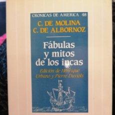 Libri di seconda mano: FABULAS Y MITOS DE LOS INCAS. Lote 267204389