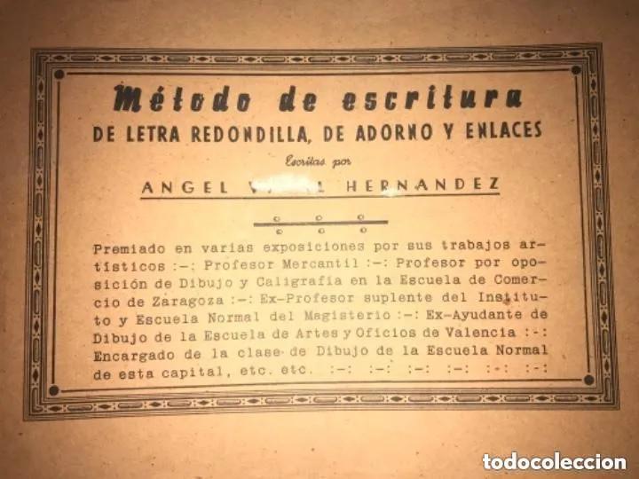 ANTIGUO MÉTODO DE ESCRITURA DE LETRA REDONDILLA ADORNO ENLACES AGEL VIDAL HERNÁNDEZ (Libros de Segunda Mano - Bellas artes, ocio y coleccionismo - Otros)